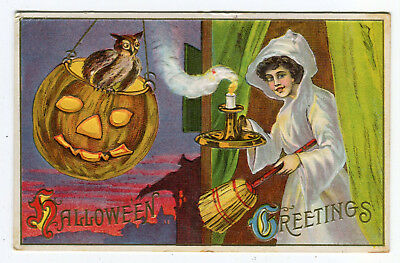 Antique Halloween Postcard Owl & Jack-O-Lantern Woman With Candle 1912 Used