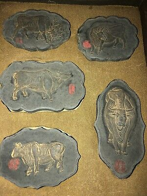 Antique Chinese  5 Ox Animal Carved Ink Cakes Block Slate Stone Stamp Seal Set