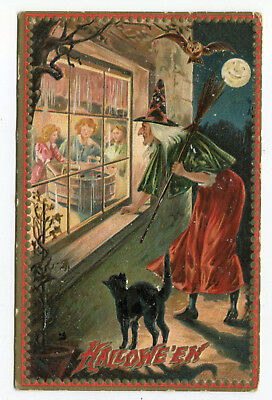 Antique Halloween Witch & Black Cat Signed Raphael Tuck Postcard Used 1909