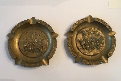 "Vintage Large 7-1/2"" Solid Brass Cigar Ashtrays Pub Band Tavern Dog Smoking Pair"