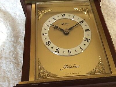 Vintage Brass/Mahogany  tone cased Carriage Clock Quartz Metamec
