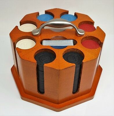Vintage Poker Chip Set with Wooden Carousel Caddy and 240 logoed  Poker Chips