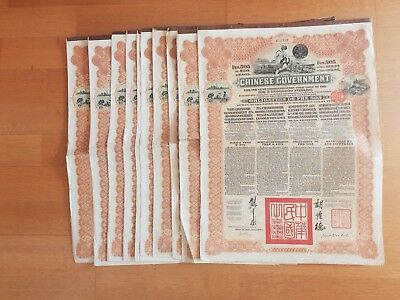 Lot Of 10 Chinese Bonds 5% 1913 Reorganisation