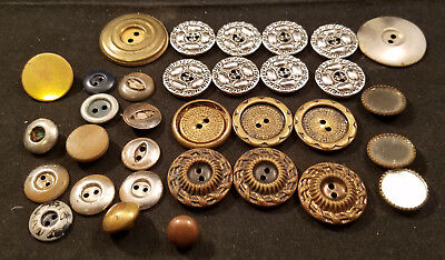 Lot of Antique Vintage Buttons - Bronze, Gold, Silver, Brass, mirrored - Metal
