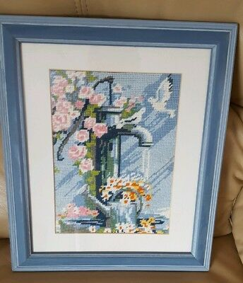 Framed Needle Work Tapestry Picture flowers a birds and tap  in a blue frame