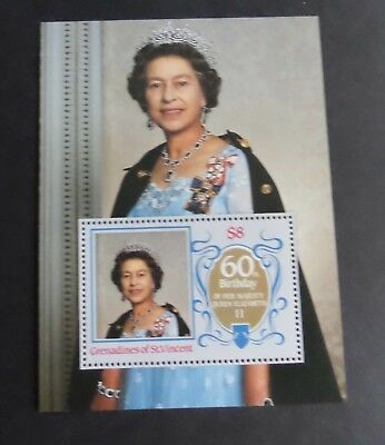 Grenadines St Vincent 1986 Queen's 60th Birthday MS unmounted mint MNH UM