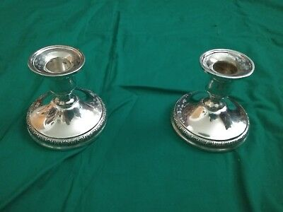 Pair of International Sterling Prelude Silver Candle Holder Candlesticks N212