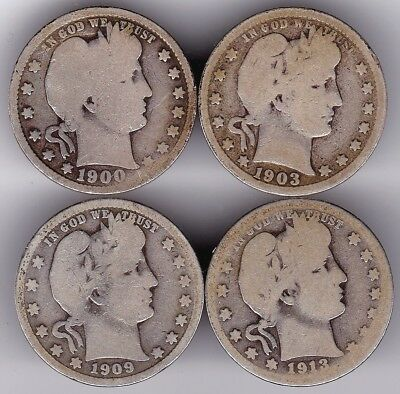 Barber Quarter Dollar Set of Four US Coin 25 Cents 1900,1903,1909,1913 D