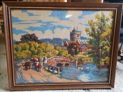 Stunning Vintage Hand Embroided English Village Scene Framed Picture church rare