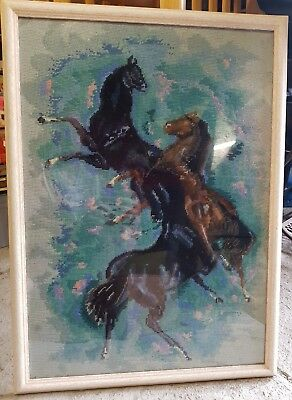 Stunning Vintage Hand Embroided Horse Picture In Frame Rare 3 Horses Antique