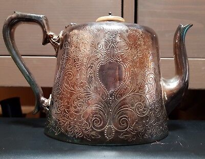 Antique Superior Electro Silver Plate Sheffield Plated Tea Pot Ornate Engraved