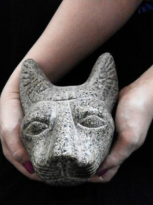 EGYPTIAN ANTIQUE ANTIQUITIES Bastet Ubaste Bast Cat Head Statue 664–332 BC