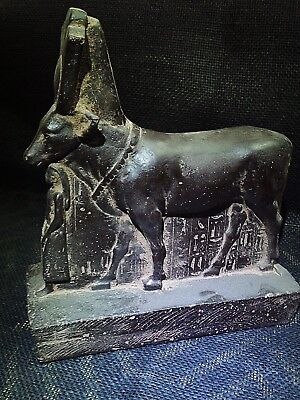 EGYPTIAN ANTIQUE ANTIQUITIES Hathor as a Cow Protecting Psamtik 664-525 BCE