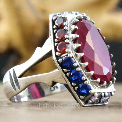 Turkish Handmade 925 Sterling Silver Faceted Ruby Men Ring Size 11.75 US