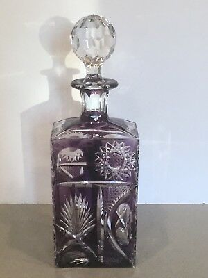 """Antique Cut to Clear Heavy Crystal Amethyst Purple Decanter w Stopper 13"""""""