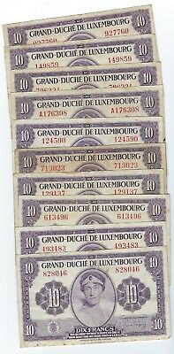 Luxembourg P-44 10 Francs (1944) circulated 10 notes
