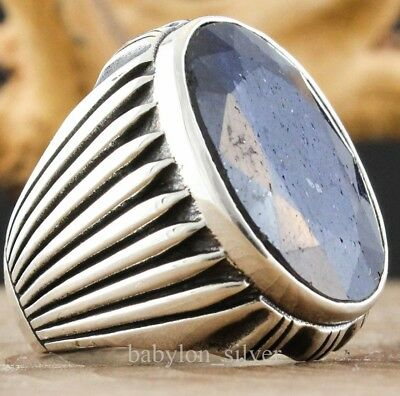 Natural Sapphire Stone 925 Sterling Silver Turkish Handmade Men's Ring 11.25 US