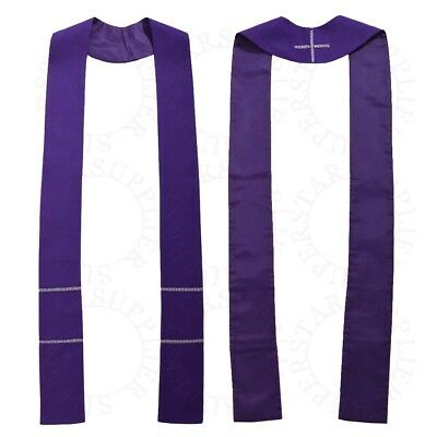 Christian Solid Pure Color Priest Stole Catholic Pastor Clergy Stole Purple