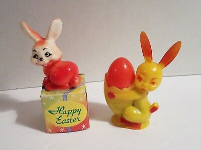 (2) Vintage 1950s Plastic Easter Bunny Candy Holder Collectibles