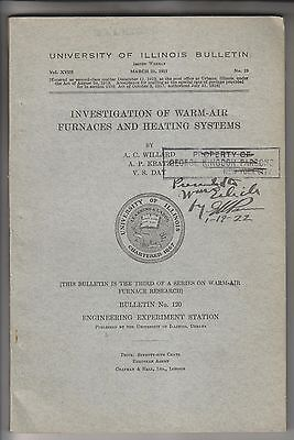 1921 Book - Investigation Of Warm-Air Furnaces - University Of Illinois Bulletin