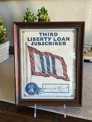 WW1 Third Liberty Loan Subscriber Certificate Framed Signed bond wwi Lloyd