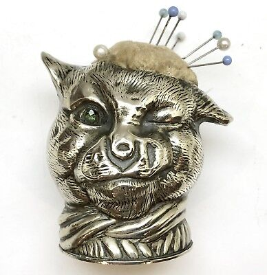 Early 20th Century Pin Cushion Cat Winking In Manner Of Louis Wain Silver Epns