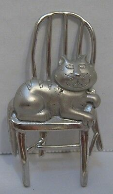 Silver Tone JJ Kitty Cat Sitting in Chair Pin