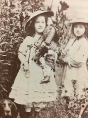 Two Little Girls Holding Doll Posing With Dog Antique CDV Photo Wapello Iowa