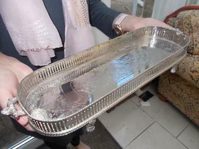 Superb Sheffield Silver Plated Tray Decanters Or Champagne Pad Feet Lovely Cond