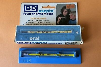 B-D Vintage Glass Asepto Oral Fever Thermometer.