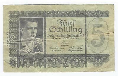 Austria P-126 5 Schilling 1951 circulated
