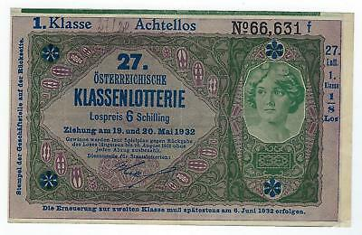 Austria P-S152 20 Lotterie Advertisement Note XF+