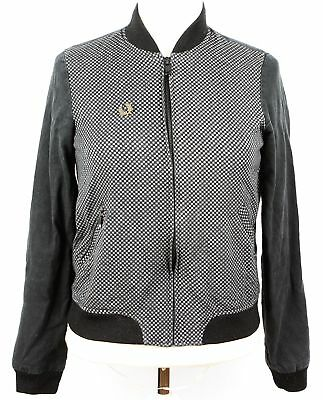 FRED PERRY  Women's Check Front Bomber Jacket  Black UK 6
