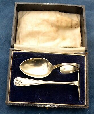 Antique Babies Feeding Set Silver Plated Boxed Christening Set