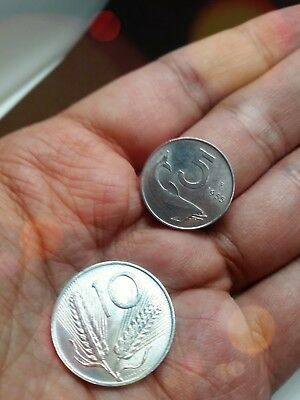 Coins ITALY - SILVER - 1955 /56 5/10LIRE IN VERY NICE CONDITION old Two Pieces