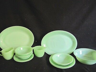 Fire King Jadeite - Lot Of 14 Pieces Of Jane Ray - Platters, Bowls + More