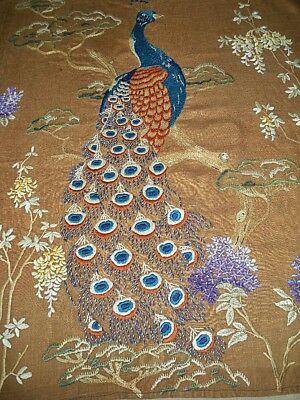 Stunning Large Vintage 1930s Hand Embroidery on Linen ~Peacock & Blossom~