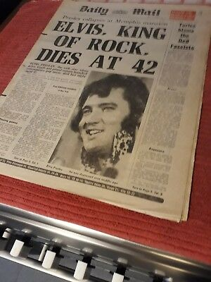 Elvis PRESLEY RELATED BRITISH NEWSPAPER AUG 17TH 1977 ALL COMPLETE