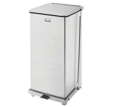 Rubbermaid Defenders Step 24 Gallon Trash Waste Can Receptacle Stainless Steel