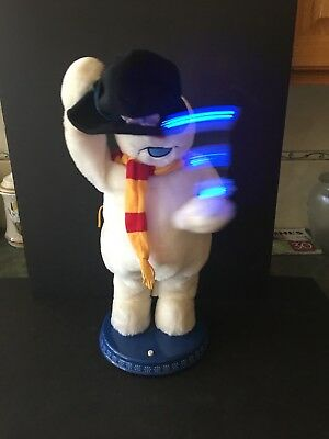 Gemmy FROSTY THE SNOWMAN Lighted Snowflake ANIMATED Dancing SINGING Black Hat