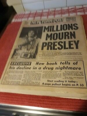 Elvis PRESLEY RELATED AMERICAN NEWSPAPER AUG 17TH 1977 ALL COMPLETE