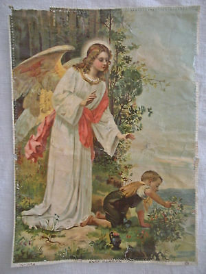 Delightful Antique French Lithograph Print of Guardian Angel
