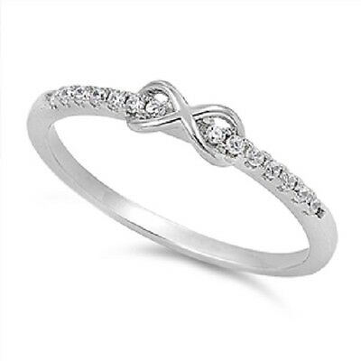Infinity Love Cute Ring New .925 Sterling Silver Cubic Zirconia Band Sizes 2-13