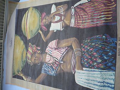 Gobelin Tapestry Printed Canvas - African Ladies with Baskets on their Heads