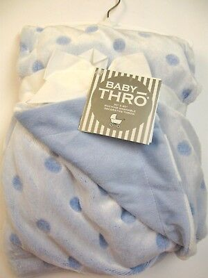 Baby Thro Blue Polka Dots Blue Shade Reverse Blanket 2 Ply 30x40