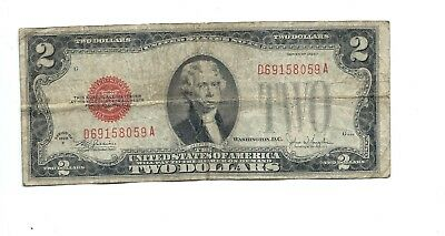 "1928-F - Two Dollar ($2.00) United States Note - Red Seal - ""Very Good/Fine"""