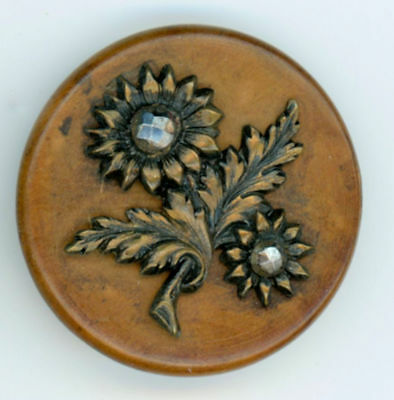 """FAB!! Antique Wood disc w tinted Brass Flowers & 2 cut steels 1-5/16"""" Dia Large"""