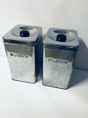Vintage 1950's Lincoln BEAUTYWARE Chrome Kitchen Canister Set of 2 Sugar & Flour