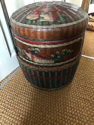Beautiful Hand Painted Antique Chinese Wedding 2 Tier Bamboo Basket Signed