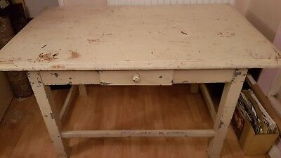 Large Vintage Solid Workbench desk Industrial Rustic Shabby Chic with drawer